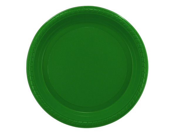 "12 pack 7"" green plastic plates"
