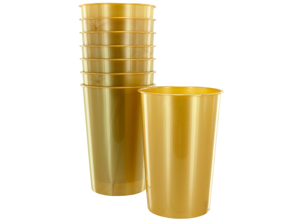 8 pack 9oz gold plastic cups