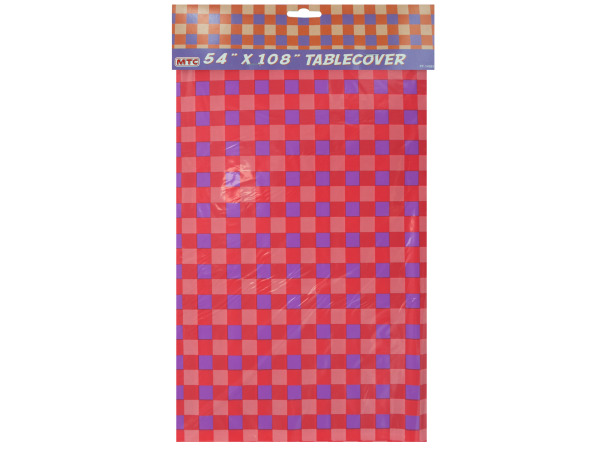 "54""x108"" Red/Purple checkered tablecover"