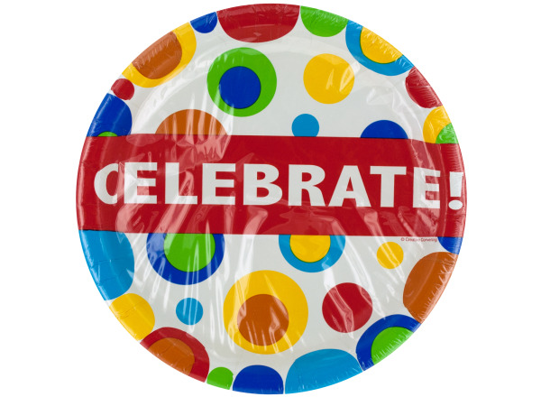 10 pk 8 3/4 in. celebration bubbles paper plates