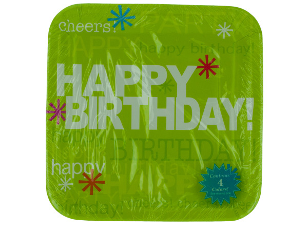 8 pk 9.25 in. time to party birthday plates ( 4 colors)