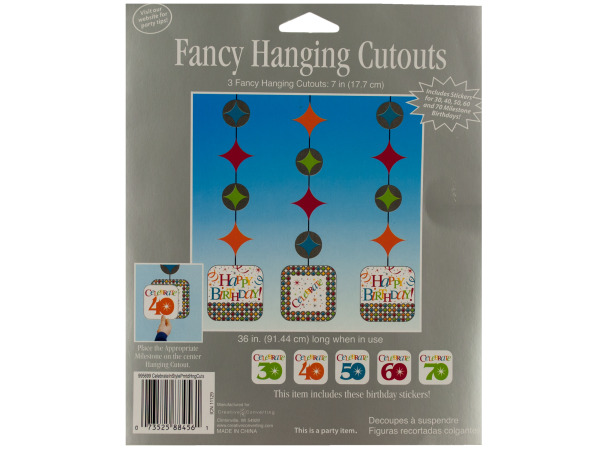 3 count 7 inch celebrate in style fancy hanging cutouts