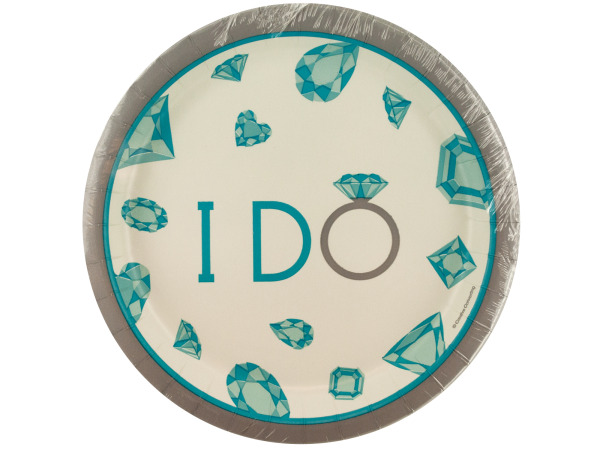 8 pack celebrate diamonds i do plates 6 3/4 inch