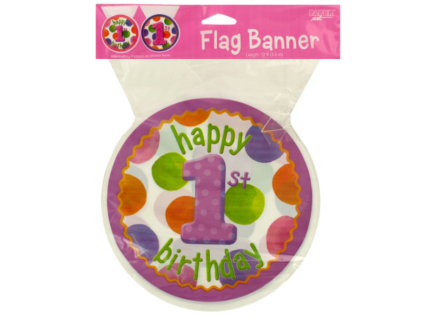 12 ft big 1 dots girl flag banner