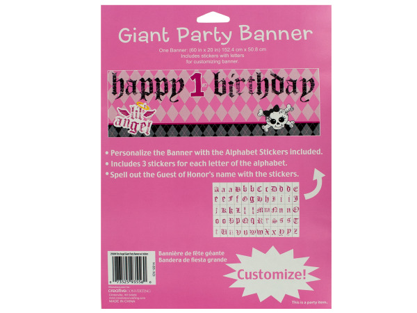 giant party banner 60 x 20 happy 1st birthday first angel
