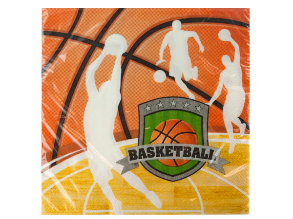 16 pack team sports basketball lunch napkins 12 7/8 x 12.75