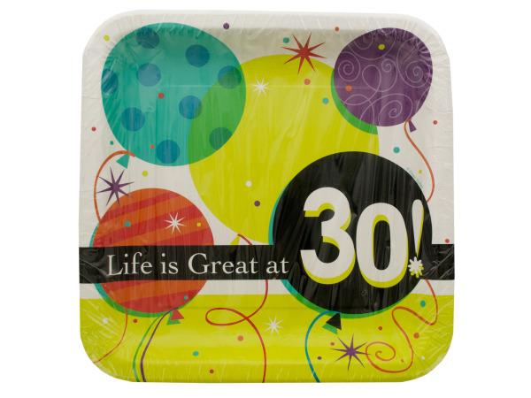 Life is Great at 30 Square Luncheon Plates Set