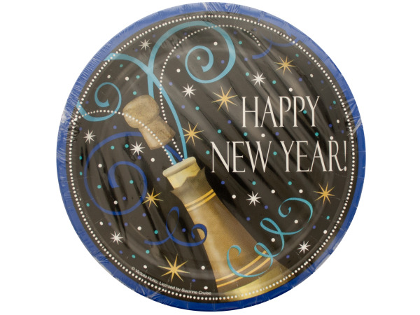 Happy New Year Champagne Swirl Plates Set
