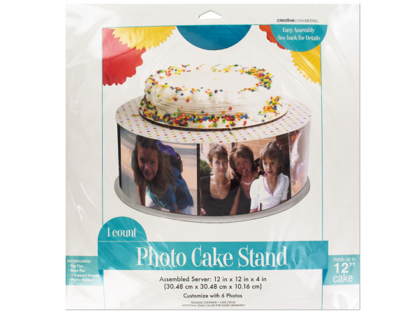 Multi-Colored Polka Dot Photo Cake Stand