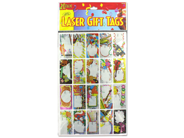 Laser sticker birthday gift tags, sheet with 20 stickers