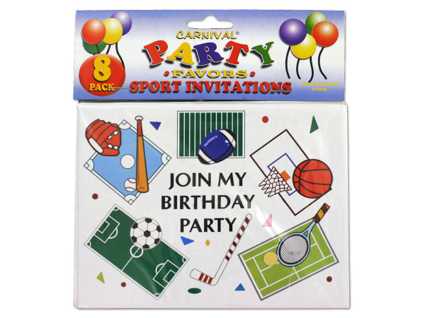 Sports-themed birthday party invitations, pack of 8