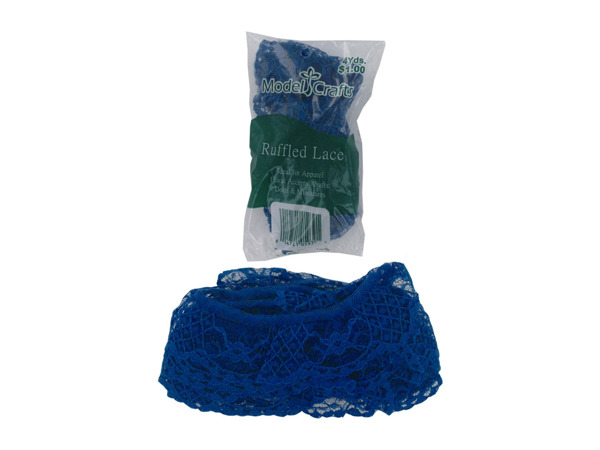 Blue ruffled lace, 4 yards