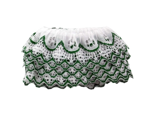 4 Yard Green & White Ruffled Lace Trim