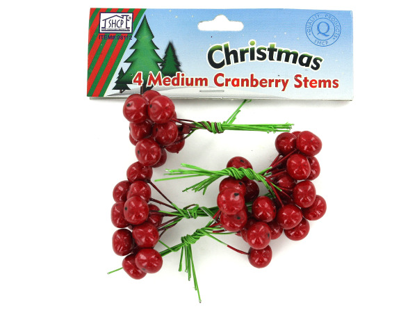 Medium cranberry stems, pack of 4