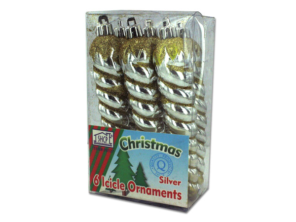 Silver icicle ornaments, pack of 6