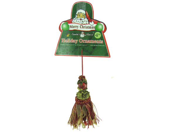 Holiday tassel ornament with gems, assorted designs