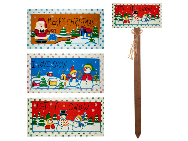 Holiday Greetings Wood Yard Stake