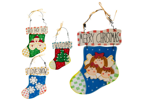 Wood Holiday Stocking Wall Plaque