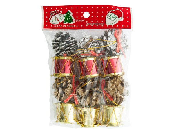 Christmas Drums/Pinecones Ornaments Set