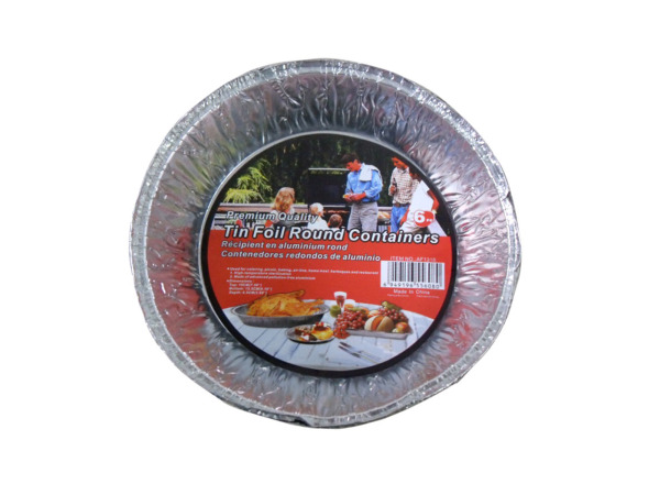 Round tin foil containers, pack of 6