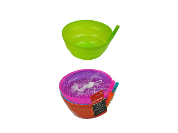 Plastic bowl with sippy straw, pack of 4