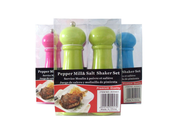 Salt and pepper mill set, assorted colors