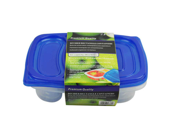 2-section storage containers, pack of 2