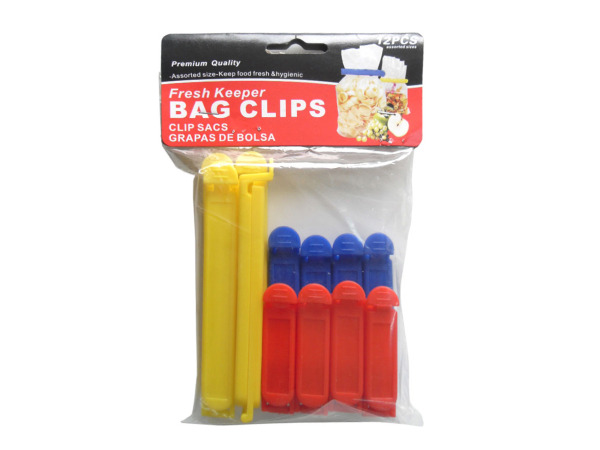 Bag clips, pack of 12 assorted sizes