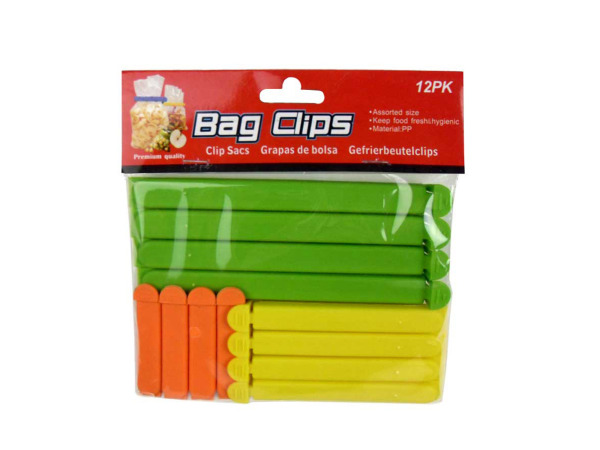 Bag clips, pack of 12 assorted colors and sizes