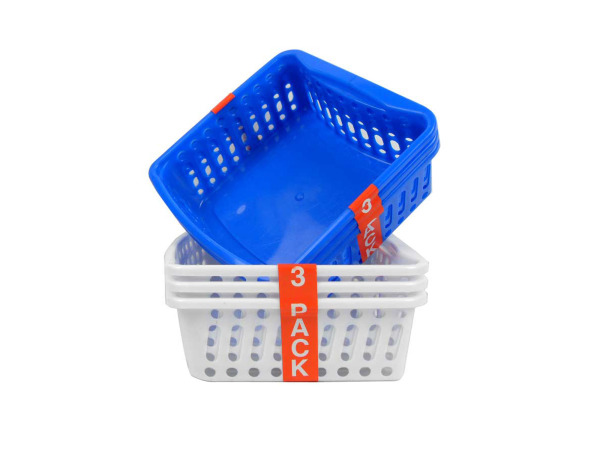 Plastic storage baskets, pack of 3