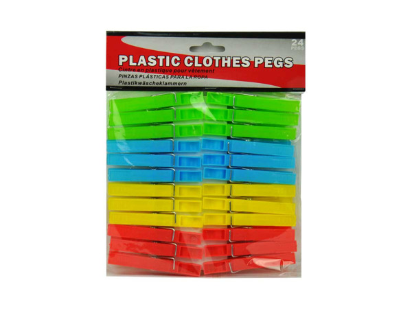 Plastic clothes pins, pack of 24