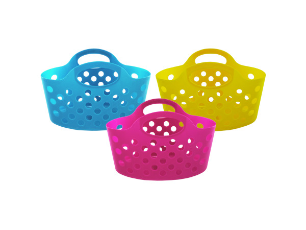 Plastic storage basket with handles