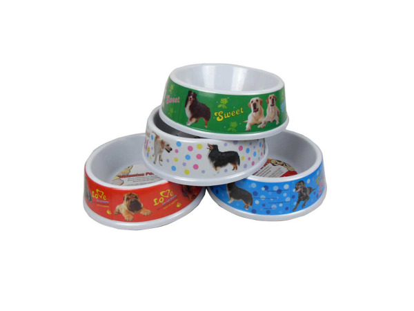 Melamine pet bowl with assorted bright designs