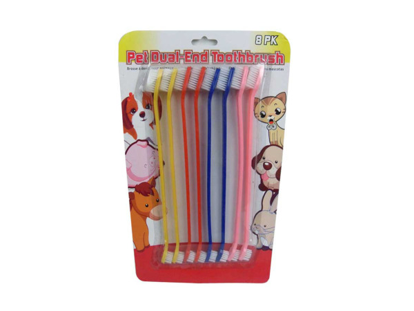Dual-end pet toothbrush, pack of 8