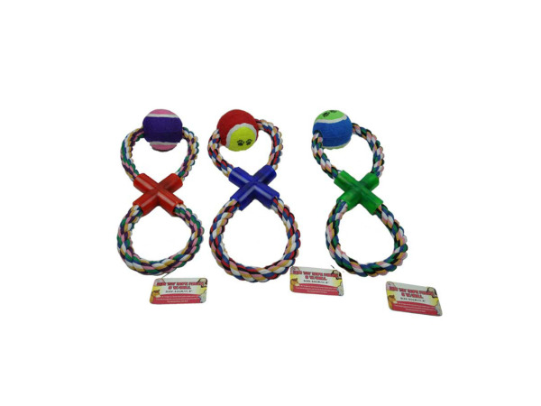 Figure 8 rope dog toy with ball