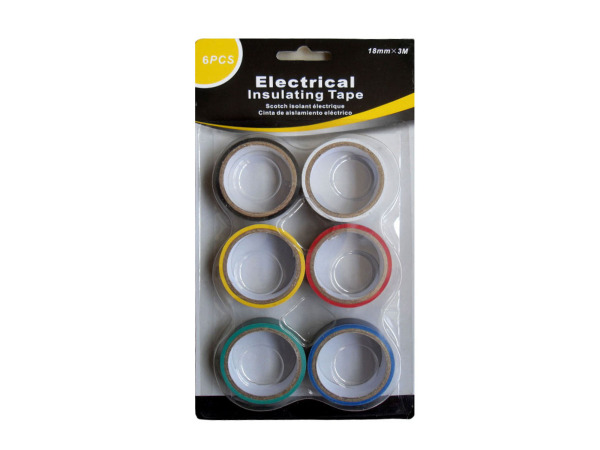 Electrical tape, assorted colors, pack of 6