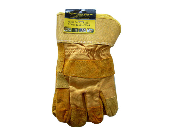 Leather work gloves, 2 pack
