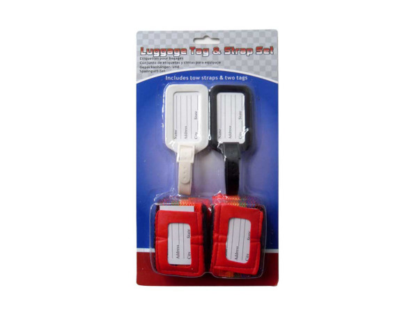 Luggage tag and strap set, pack of 4