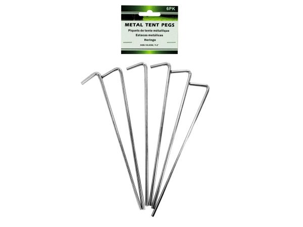 Metal tent pegs, pack of 6