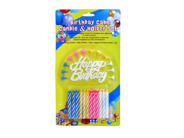 Birthday candle and holder set