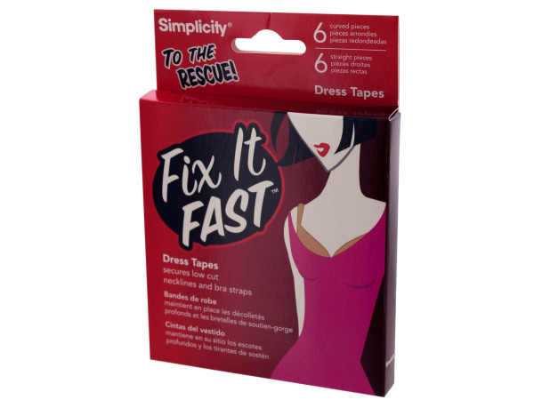 fix it fast 12 piece dress tapes (6 straight/6 curved)
