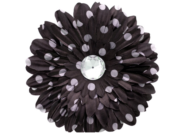 6 pack black fabric daisy w/white polka dots and jewel