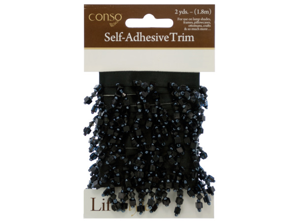 conso 2 yard self adhesive black trim with black beads