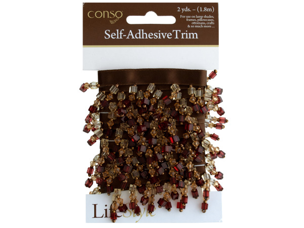 conso 2 yards self adhesive brown ribbon trim with beads