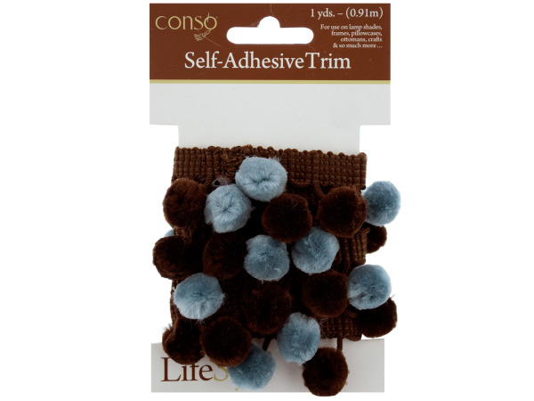conso 1 yard self adhesive brown trim w/brown/teal pom poms