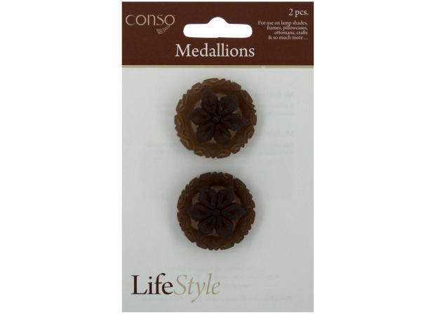 conso 2 piece poly resin 6 petal medallion accents