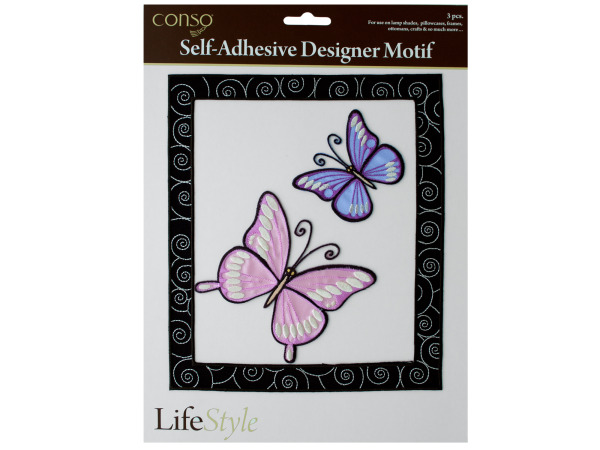 conso self adhesive 3 piece motif butterfly frame