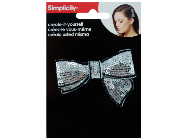 simplicity silver sequin bow w/black trim headband accent