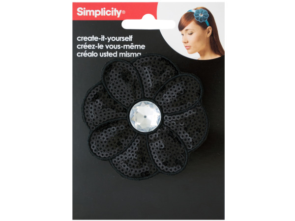 simplicity black sequin flower with gem headband accent