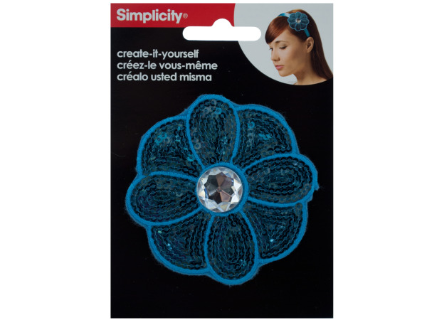 simplicity turquoise sequin flower with gem headband accent